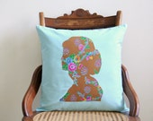 audrey hepburn silhouette pillow cover, cameo, decorative pillow cover, teal,floral, brown,mother's day gift,home decor