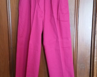 SALE Vintage Jones Wear Raspberry Hot Pink Pants Elastic Waist Marked Size 14 Ladies Pants