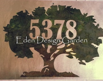 Custom etched metal address or house sign Oak Tree style