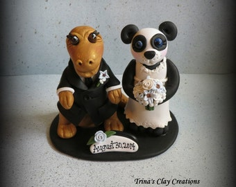 Wedding Cake Topper, Panda Bear, T-Rex, Polymer Clay, Custom Wedding/Anniversary Keepsake, Animal