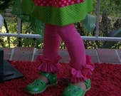 Ruffle Knit Leggings for Girls ... Infant Toddler Youth Girl Sizes - Hot Pink Emerald Gray