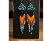 Native American Style Chevron Beaded Earrings