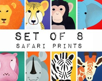 Nursery Art Jungle animal Prints for baby / Child .SET OF 8 Prints of safari african wild zoo animals for kids rooms and playrooms