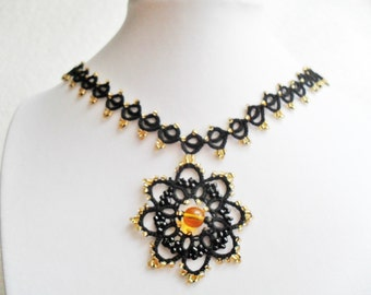 Tatted lace necklace, black necklace