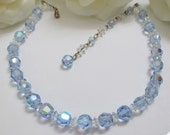 Vintage Wedding Crystal Necklace - Something BLUE - For The Bride - Fabulous Austrian Cut Crystals