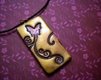 Gold and Purple Butterfly Pendant Necklace - Polymer Clay