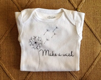 Make a wish, onesie, Baby, Clothing, bodysuit, children, tops