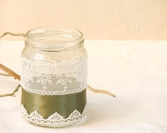 Candle Holder, Upcycled Glass Lace Holder, Table Centerpiece decor, 1 Mason Jar Lace, Shabby chic Home Decor, Lace Holder Candle.