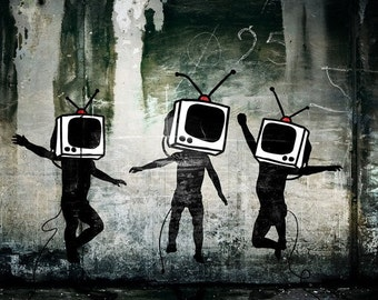 Banksy Custom Rolled Canvas - 42x60 TV Heads