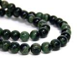 Kambaba Jasper beads, 6mm round natural gemstone, green black,  Full & Half Strands Available   (661S)