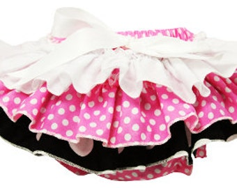 Fluffy Ruffled Polka Dot Cotton Bloomers - White, Pink & Black