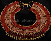 Beautiful Red Mummybead Cleopatra Collar Mega Sale