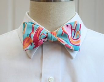 Lilly Bow Tie in multi peel and eat flamingo design (self-tie)