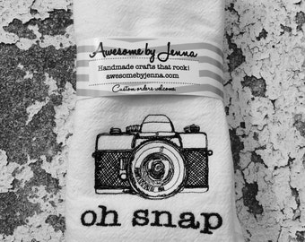 Oh Snap Vintage Camera Embroidered Tea Towel