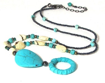 Turquoise Eyeglass Chain / Eyeglass Chain / Eyeglass Necklace / Gift for Reader / Beaded Eyeglass Chain / Eyeglass Holder Necklace /