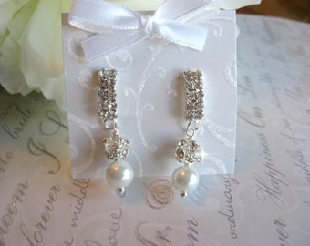 Swarovski Pearl and Rhinestone Bridal Earrings - Bride or Bridesmaid Earrings - Wedding Earrings - Bridal Earrings