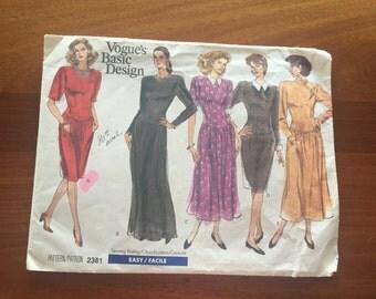 80s Vogue 2381 Basic Design Dress Dropped Waist, Flared Skirt or Slim Size 6 8 10 Bust 30 31 32