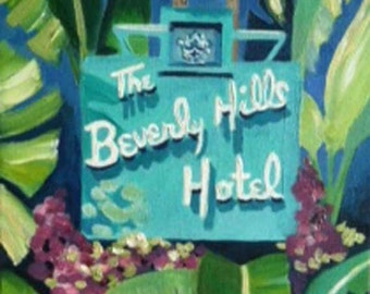 The Beverly Hills Hotel - 8 x 10 Print of an Oil Painting Los Angeles Hollywood California banana leaves