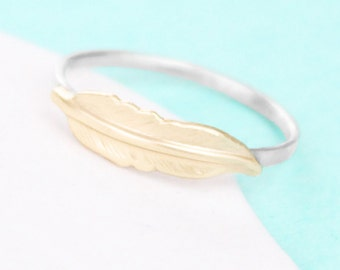 Feather Ring - Brushed Finish - Feather Jewelry - Sterling Silver Band
