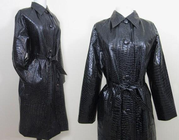 Vintage 60s 70s Raincoat Trench Coat Black Crocodile Grain