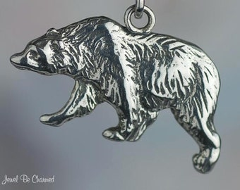 Sterling Silver Grizzly Bear Charm Pick Facing Left or Right Solid 925