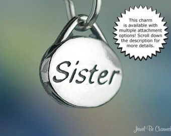 Sister Charm Sterling Silver for Family or Sorority Sisters Small Oval