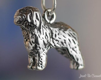 Sterling Silver Old English Sheepdog Charm or Polish Lowland Solid 925