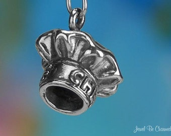 Sterling Silver Chef Hat Charm Restaurant Chefs Home Cooks Solid .925