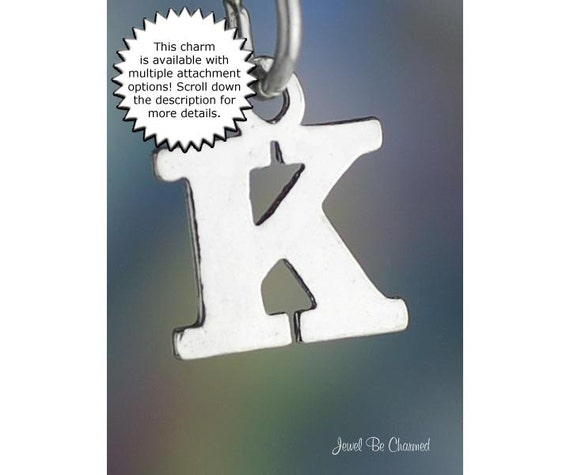 Small Letter K Charm Sterling Silver Alphabet By