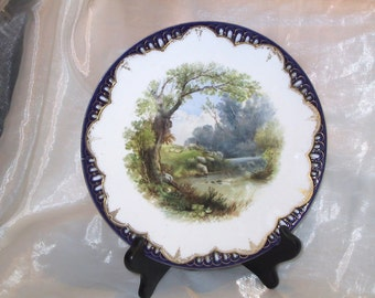 Antique Brownfield's China Decorative Plate with Sheep & Shephard Steele Bros. Philadelphia