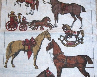 Vintage Lois Long Linen Kitchen Towel with Horses for Different Uses Design