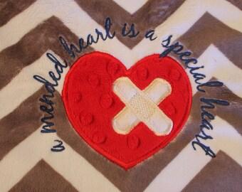 Baby blanket, minky blanket, personalized baby blanket, Heart warrior blanket, CHD warrior ,Chevron Blanket