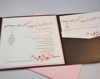 Printable PDF Cherry Blossoms Wedding Invitations for the DIY Bride