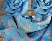 Scarf Beautiful Sari Scarf Versatile Upcycled VINTAGE Sari - floral light blue - autumn winter accessories