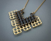 Fan Shape Pendant Necklace - Gold/Silver/Copper with Black- Funky Jali Range - Hand cut Gilded Necklace, Geometric Necklace