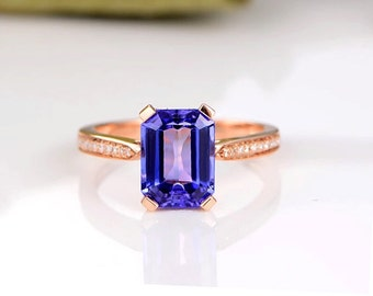 Antique Style Rose Gold Octagon Tanzanite Engagement Ring