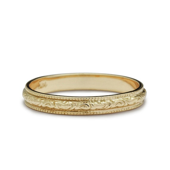 Antique Scroll Bands: Items Similar To Vintage Engraved Scrolls Wedding Band In