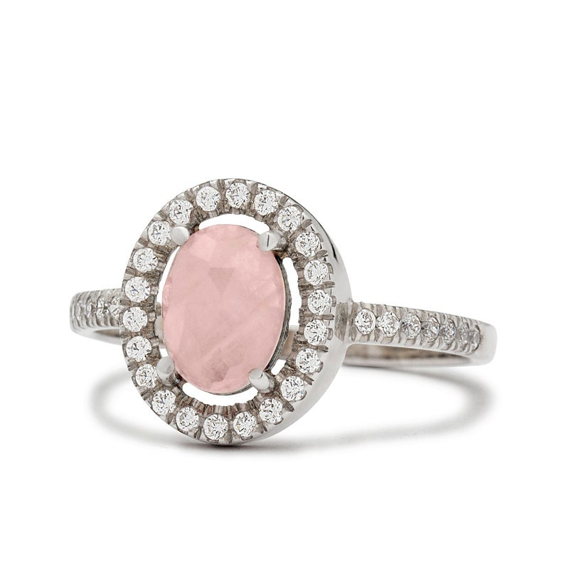 Vintage diamond rose quartz engagement ring in by for Quartz wedding rings