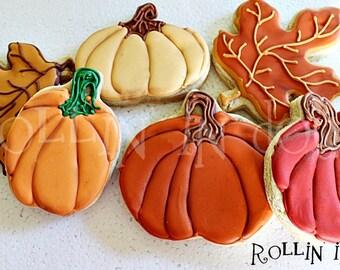 Fall Cookies, Pumpkin Cookies, Autumn Cookies, Thanksgiving Cookies- 1 Dozen