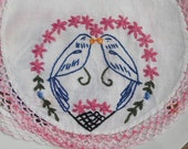 Love Birds, Embroidered BIRDS, Pink doiley, pink and white doillies, set of 2, vintage doiley with birds
