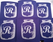 100 double Mason Jar Wedding favors design R Screen Printed includes a 1 color / 2 location stock art