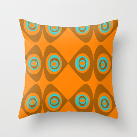 Modern Pillows Etsy : Items similar to Modern Pillow Cover, Orange, Brown Pillow Cover, Geometric Pillow Cover, Mid ...
