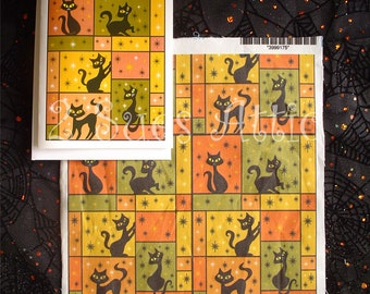 Composition with 5 Black Cats Autumn Woodland Color Scheme Fabric Swatch with Matching Card