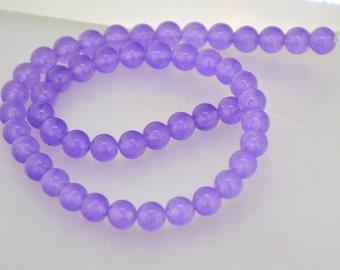 """15"""" Round 8mm Lavender Jade Beads Full One Strand Charm round jade beads gemstone bead"""
