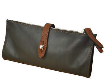 Leather Wallet  Women's Handmade, in olive green color , named Helios MADE TO ORDER