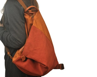 Backpack in lightweight orange canvas and copper suede leather ,named Kalliope MADE TO ORDER