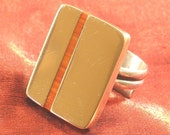 SALE - Bronze Ring with Spiney Oyster Shell Inlay - Bronze Jewelry RGC-8
