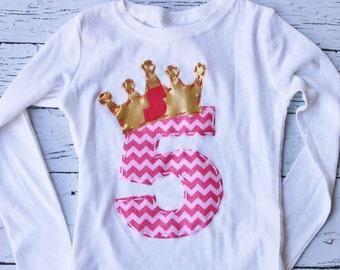 Queen, princess birthday shirt, frozen 5, five, 4, t shirt, girl pink,