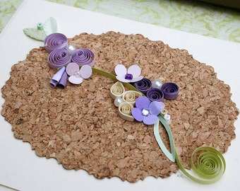 Quilled Card All Occasion  Wedding, Birthday, Anniversary, New Baby, Garden Lover, Sympathy, Purples on Cork Board