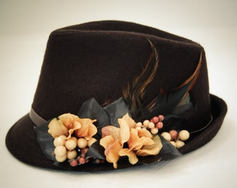 Free shipping , Brown Fedora Hat for women , wool hat, unique gift, for her